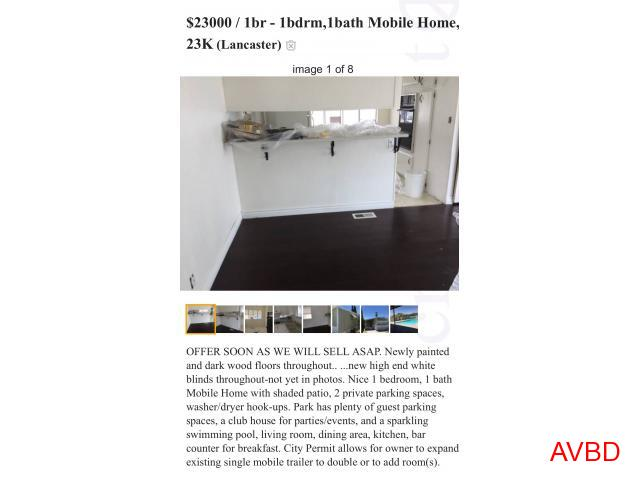 23,000 I bedroom Mobile Home For Sale,Pool,300 space rent
